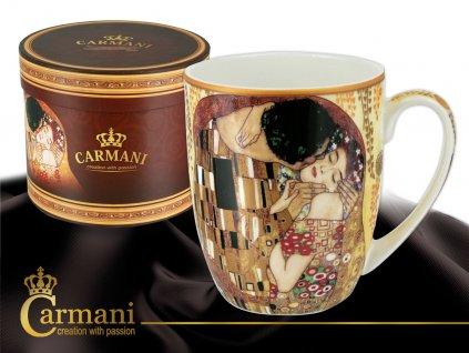 """Carmani - Porcelánový hrnek Gustav  Klimt """"Polibek"""" v dárkové krabičce - 400 ml"""