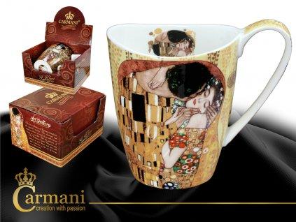 """Carmani - Porcelánový hrnek Gustav Klimt tvarovaný """"Polibek"""" v dárkové krabičce - 400 ml"""