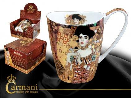 """Carmani - Porcelánový hrnek Gustav Klimt tvarovaný """"Adele Bloch - Bauer"""" v dárkové krabičce - 400 ml"""