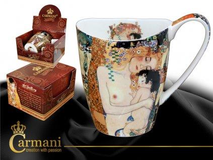 """Carmani - Porcelánový hrnek Gustav Klimt tvarovaný """"Mateřství"""" v dárkové krabičce - 400 ml"""