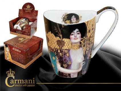 """Carmani - Porcelánový hrnek Gustav Klimt tvarovaný """"Judith a Holopherne"""" v dárkové krabičce - 400 ml"""