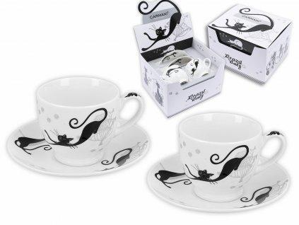 """Carmani - Porcelánové šálky s podšálky na espresso """"Bláznivé kočky""""v dárkové krabičce - 2*100 ml"""