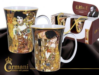 """Carmani - Porcelánové hrnky Gustav Klimt """"Polibek + Adela""""  v dárkové krabičce - 2*300 ml"""