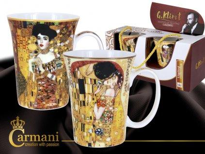 """Carmani - Porcelánové hrnky Gustav Klimt """"Polibek + Adela""""  krémové pozadí v dárkové krabičce - 2*300 ml"""