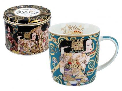 """Carmani - Porcelánový hrnek Gustav Klimt """"The Waiting"""" v designové dóze - 450 ml"""