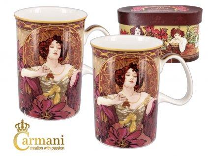 Carmani - Porcelánové hrnky Alfons Mucha v dárkové krabičce - 2*450 ml