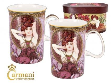 """Carmani - Porcelánové hrnky Alfons Mucha """"Ametyst"""" v dárkové krabičce - 2*450 ml"""