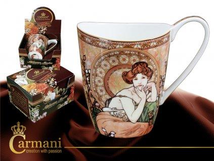 """Carmani - Porcelánový hrnek Alfons Mucha """"Drahé kameny - """"Topaz"""" v dárkové krabičce - 500 ml"""