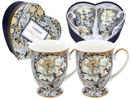 Carmani - Porcelánové hrnky WILLIAM MORRIS na stopce v dárkové krabičce ve tvaru srdce -2*300 ml