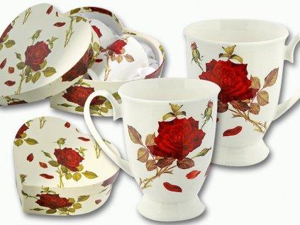 """Carmani - Porcelánové hrnky """"Červená růže"""" na stopce v dárkové krabičce ve tvaru srdce -2*300 ml"""