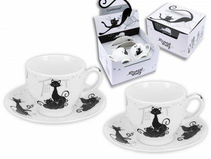 """Carmani - Porcelánové šálky a podšálky na espresso """"Černé kočky"""" - 2*100 ml"""