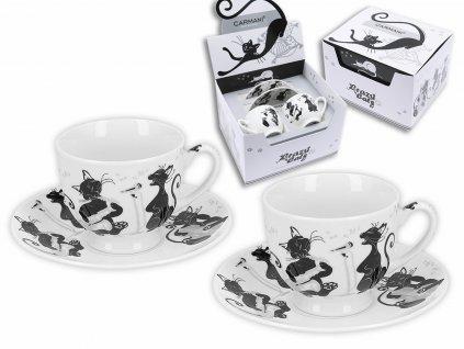 """Carmani - Porcelánové šálky a podšálky na espresso """"Černé zpívající kočky"""" - 2*100 ml"""