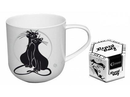 """Carmani - Porcelánový hrníček """"Mazlení koček"""" v dárkové krabičce - 500 ml"""