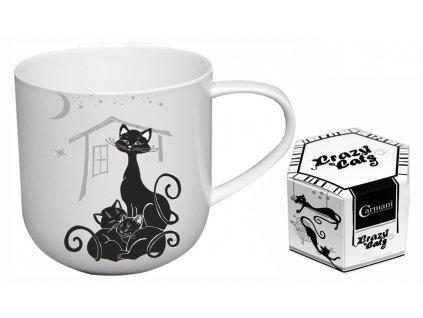 """Carmani - Porcelánový hrníček """"Kočka s koťaty"""" v dárkové krabičce - 500 ml"""