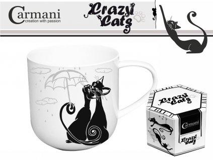 """Carmani - Porcelánový hrníček """"Kočky pod deštníkem"""" v dárkové krabičce - 500 ml"""