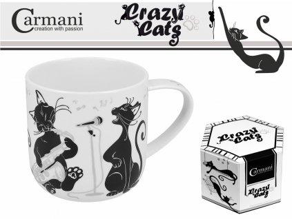 """Carmani - Porcelánový hrníček """"Zpívající kočky"""" v dárkové krabičce - 500 ml"""