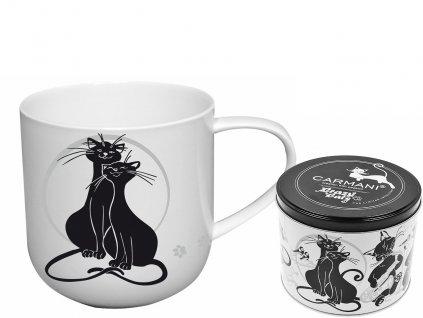 """Carmani - Porcelánový hrníček """"Mazlící kočky"""" v plechové dóze - 500 ml"""
