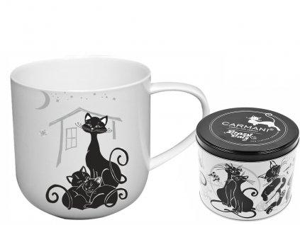 """Carmani - Porcelánový hrníček """"Kočka s koťaty"""" v plechové dóze - 500 ml"""