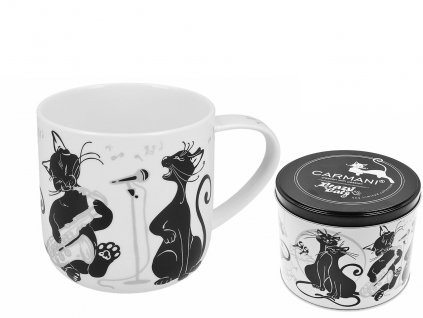 """Carmani - Porcelánový hrníček """"Zpívající kočky"""" v plechové dóze - 500 ml"""