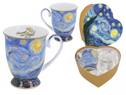 Porcelánové hrnky na stopce Vincent van Gogh Hvězdná noc v dárkové krabičce ve tvaru srdce