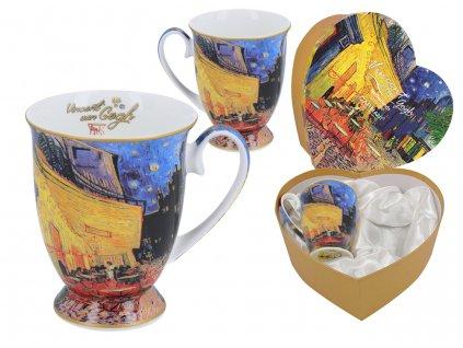 Carmani - Porcelánové hrnky na stopce Vincent van Gogh Terasa noční kavárny v dárkové krabičce ve tvaru srdce