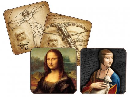 Carmani - Korkové prostírání pod skleničky Leonardo da Vinci - /10,5*10,5 cm/ - 4 ks