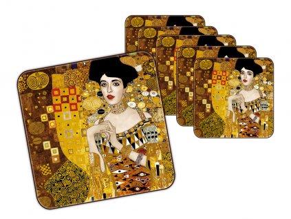 """Carmani - Korkové prostírání pod skleničky G. Klimt """"Adele Bloch Bauer""""  /10,5*10,5 cm/ - 6 ks"""