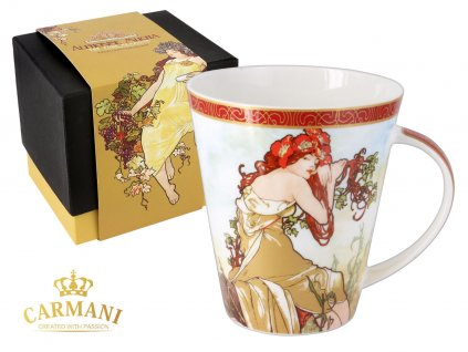 """Carmani - Porcelánový hrnek Alfons Mucha """"Léto"""" v dárkové krabičce - 450 ml"""