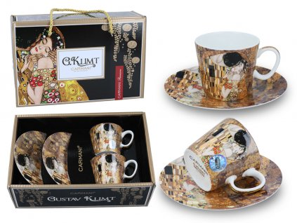 Carmani - Porcelánové šálky s podšálkem G. Klimt na espresso v dárkové krabičce- 2*100 ml