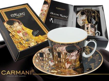 """Carmani - Porcelánový šálek s podšálkem G. Klimt """"Polibek"""" v dárkové krabičce - 250 ml"""