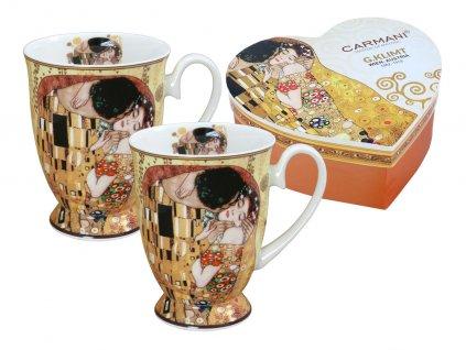 Carmani - Porcelánové hrnky na stopce G. Klimt v dárkové krabičce ve tvaru srdce - 2*350 ml