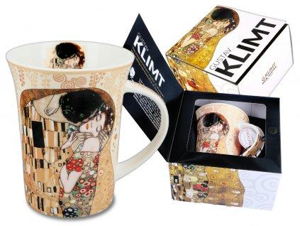"""Carmani - Porcelánový hrnek G. Klimt """"Polibek"""" v dárkové krabičce - 350 ml"""