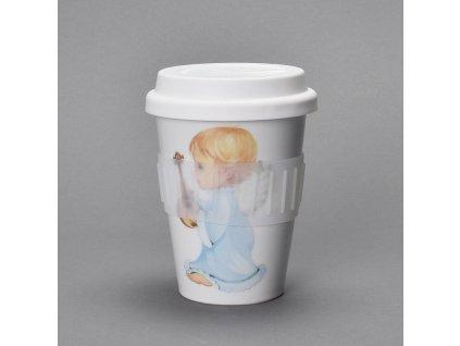 """Porcelánový pohárek Coffee to Go s víčkem a páskou """"Andílek - modrý"""" - 310 ml"""