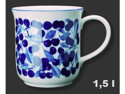 """Velký porcelánový hrnek GOLEM """"Třešně - kobaltové"""" - 1,5 l"""