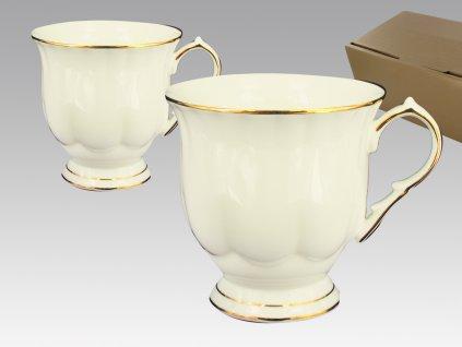 """Carmani - Elegantní porcelánové hrníčky na stopce """"Krémové se zlatou linkou """"v krabičce - 2*280 ml"""