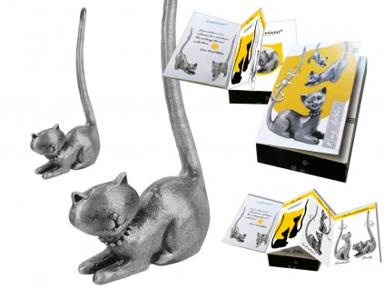 "Kovový stojánek na šperky ve tvaru kočky ""Minda"""
