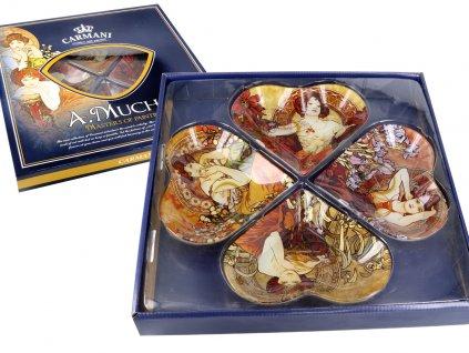 Dekorativní talíř ve tvaru čtyřlístku v designu A. Mucha