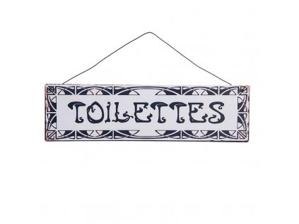 Clayre & Eef - Cedulka k označení místnosti TOILETTES - 25*7 cm