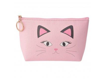 """Toaletní nebo kosmetická taštička růžová """"Kočka"""""""