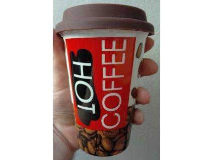 Porcelánový pohárek coffee zrnka kávy