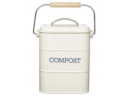 Kitchen Craft - Plechový kompostér Living Nostalgia krémový /16,5*12*24/ - 3000 ml