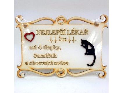 Dřevěná deska 23x16cm bílá s nápisem - Nejlepší lékař - kočka