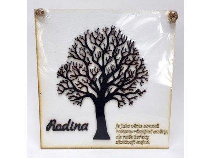 Dřevěná deska 21,5x22,5cm bílá s 3D stromem a nápisem - Rodina je jako větve stromů