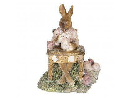 Clayre & Eef - Sedící zajíc za stolem a malující vajíčka - 11*9*14 cm