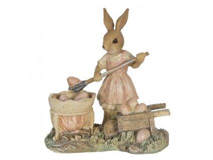Clayre & Eef - Figurka zaječky s trakařem nabírající vajíčka - 12*6*12 cm