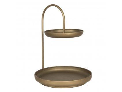 Clayre & Eef - Dvoupatrový etažér v barvě zlato-měděné patiny - 31*30*40 cm