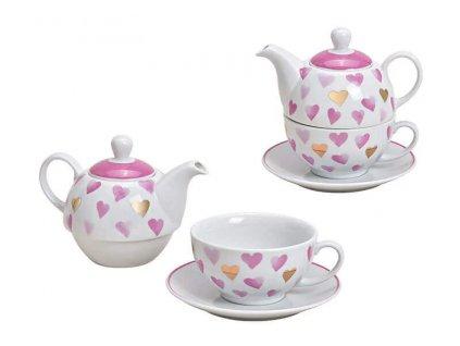 """Porcelánová čajová souprava pro jednoho HEART """"Růžová a zlatá srdíčka"""" (konvička 400 ml, šálek 200 ml)"""