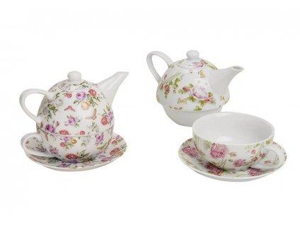 """Porcelánová čajová souprava pro jednoho ROSES """"s motýly"""" - (konvička 400 ml, šálek 200 ml)"""