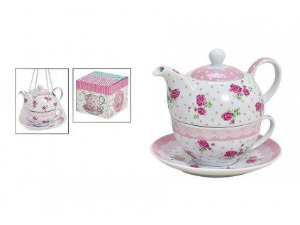 """Porcelánová čajová souprava pro jednoho ROSES """"s puntíky"""" - (konvička 350 ml, šálek 200 ml)"""