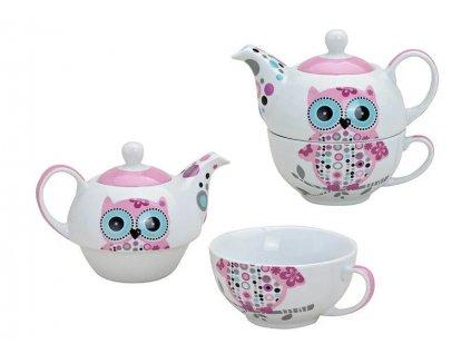 Porcelánová čajová souprava pro jednoho se sovou - (konvička 400 ml, šálek 200 ml)